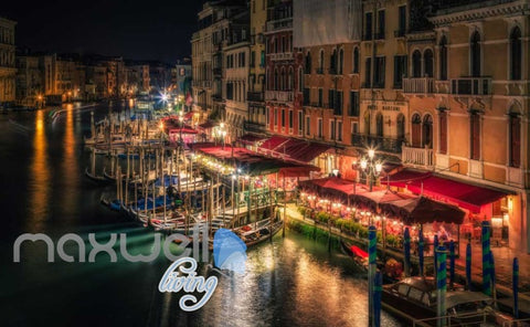 Image of Venice Boats River Lights Photo Art Wall Murals Wallpaper Decals Prints Decor IDCWP-JB-000144