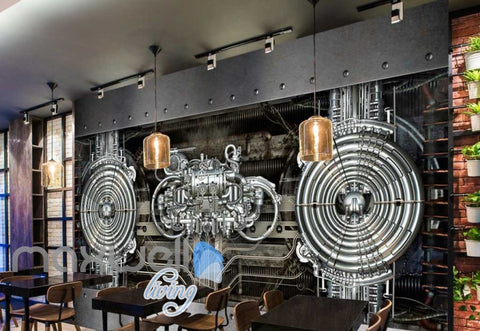 Image of Metal Pipes And Engine Chrome Art Wall Murals Wallpaper Decals Prints Decor IDCWP-JB-000148
