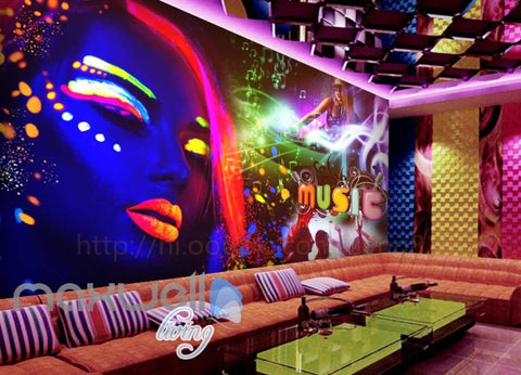 Image of Neon Colour Music Rave  Art Wall Murals Wallpaper Decals Prints Decor IDCWP-JB-000150