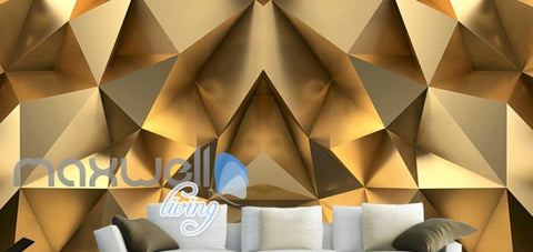 Image of Gold Optical Illusion Design Art Wall Murals Wallpaper Decals Prints Decor IDCWP-JB-000151