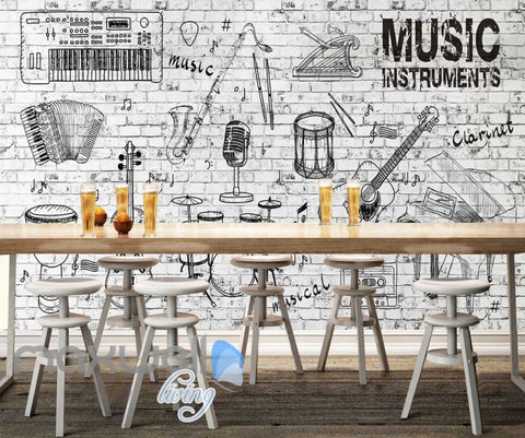 Image of Black White Instruments Wall Design Art Wall Murals Wallpaper Decals Prints Decor IDCWP-JB-000155