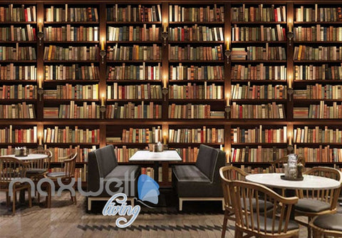 Image of Library Book Collection Shelves Art Wall Murals Wallpaper Decals Prints Decor IDCWP-JB-000157