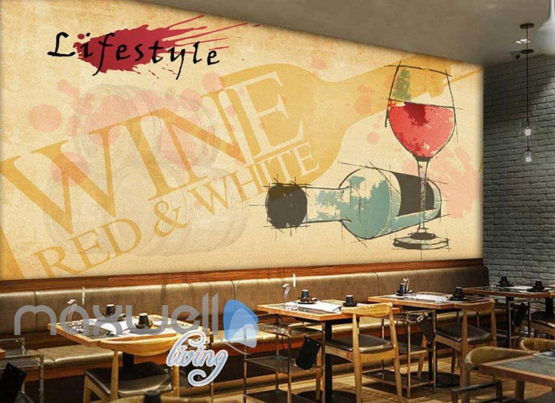 Wine Bottle Water Colour Art Art Wall Murals Wallpaper Decals Prints Decor IDCWP-JB-000164