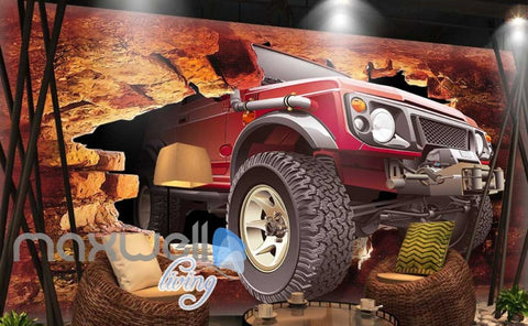 Image of Jeep Breakthrough Brick Wall Art Wall Murals Wallpaper Decals Prints Decor IDCWP-JB-000166