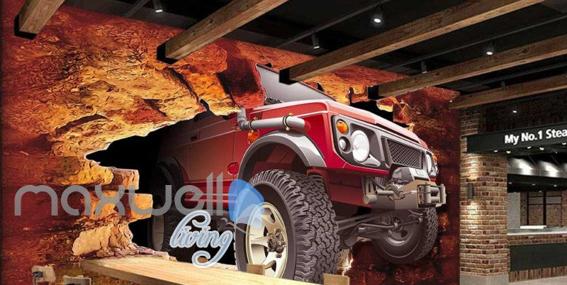 Jeep Breakthrough Brick Wall Art Wall Murals Wallpaper Decals Prints Decor IDCWP-JB-000166