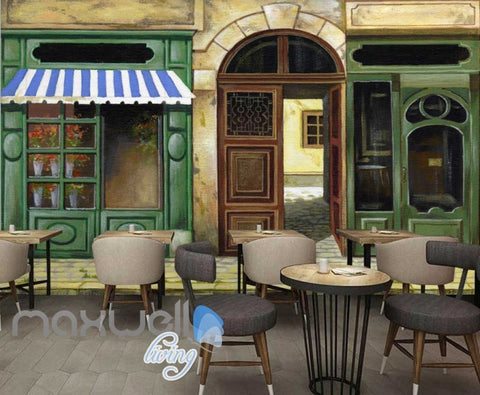 Image of Oil Painting Caf?Alley Art Art Wall Murals Wallpaper Decals Prints Decor IDCWP-JB-000170