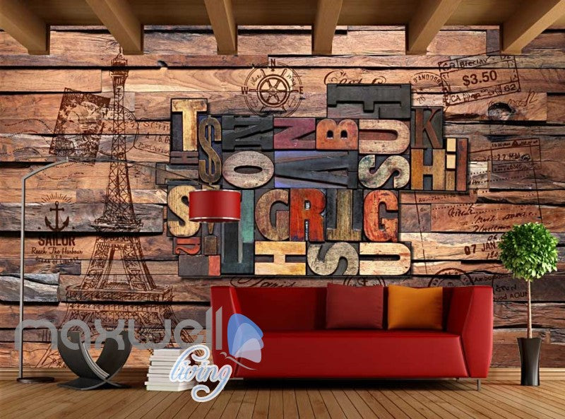 World Letter Collection Wood Wall Art Wall Murals Wallpaper Decals Prints Decor IDCWP-JB-000173