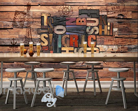 Image of World Letter Collection Wood Wall Art Wall Murals Wallpaper Decals Prints Decor IDCWP-JB-000173