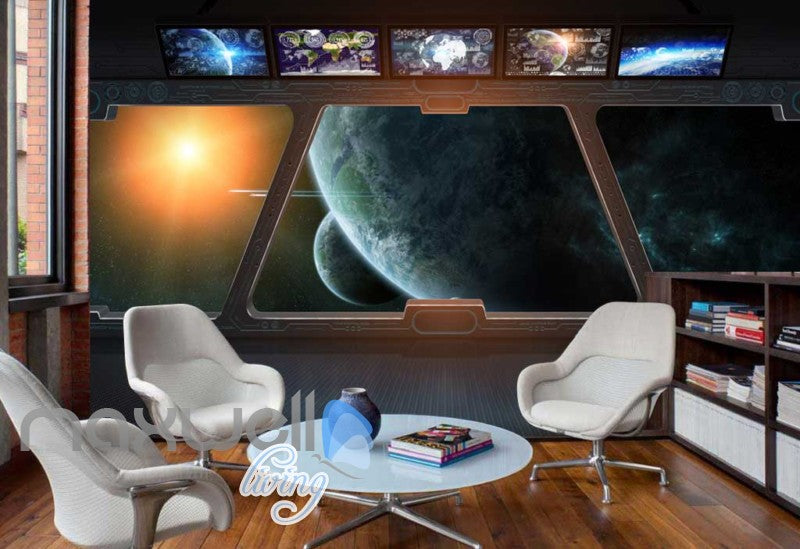 Spaceship Window View Galaxy Moons Art Wall Murals Wallpaper Decals Prints Decor IDCWP-JB-000182