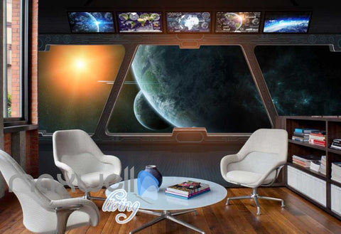 Image of Spaceship Window View Galaxy Moons Art Wall Murals Wallpaper Decals Prints Decor IDCWP-JB-000182