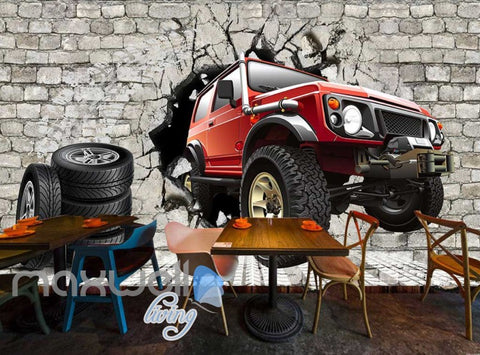 Image of Tires Jeep Wall Breakthrough Art Wall Murals Wallpaper Decals Prints Decor IDCWP-JB-000183