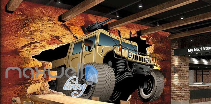 Jeep Brick Wall Breakthroug Art Wall Murals Wallpaper Decals Prints Decor IDCWP-JB-000186