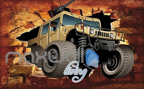 Image of Jeep Brick Wall Breakthroug Art Wall Murals Wallpaper Decals Prints Decor IDCWP-JB-000186