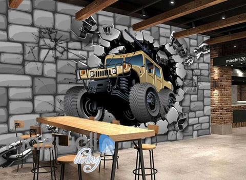 Image of Concrete Wall Break Through Cartoon Art Wall Murals Wallpaper Decals Prints Decor IDCWP-JB-000187