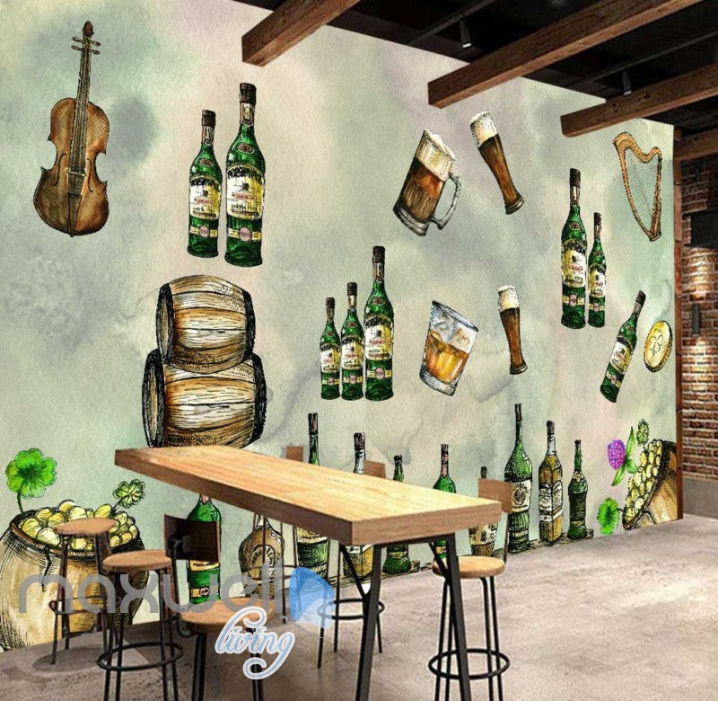 Alcohol Bottle Glass Collection Art Wall Murals Wallpaper Decals Prints Decor IDCWP-JB-000191