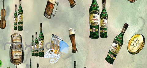 Image of Alcohol Bottle Glass Collection Art Wall Murals Wallpaper Decals Prints Decor IDCWP-JB-000191