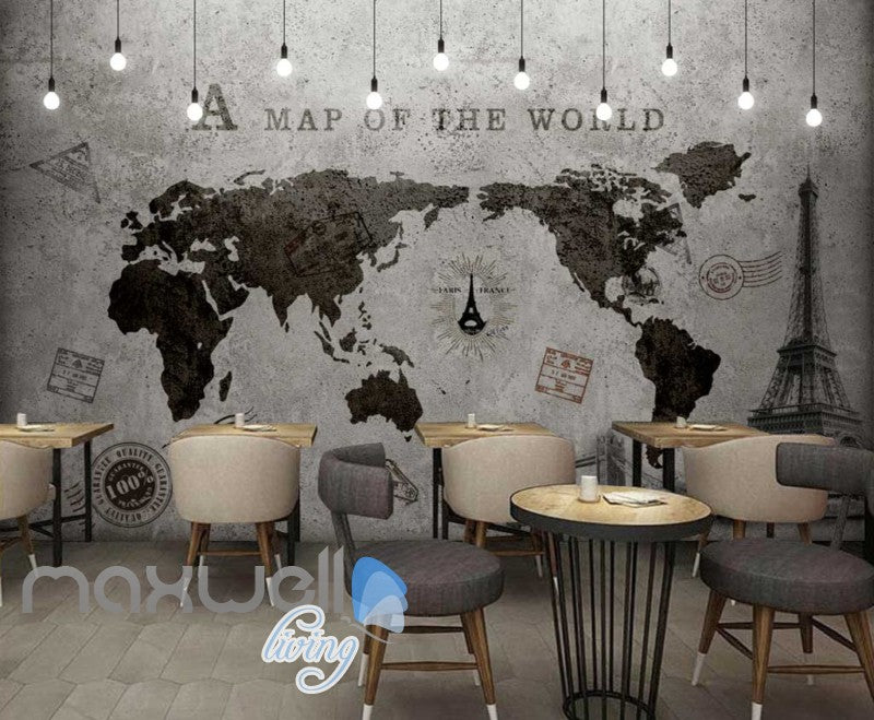 World Map Black White Travel Design Art Wall Murals Wallpaper Decals