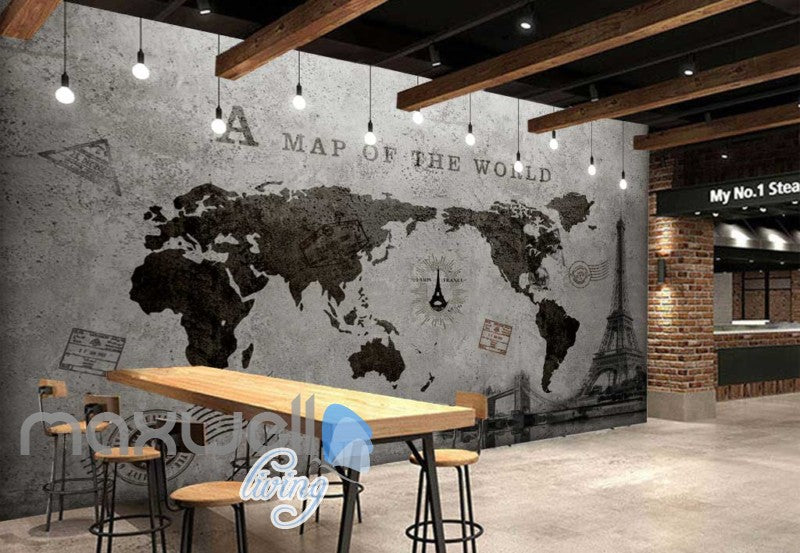 World map black white travel design art wall murals wallpaper decals tap to expand world map black white travel design art wall murals wallpaper gumiabroncs Choice Image