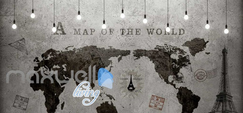 Image of World Map Black White Travel Design Art Wall Murals Wallpaper Decals Prints Decor IDCWP-JB-000192