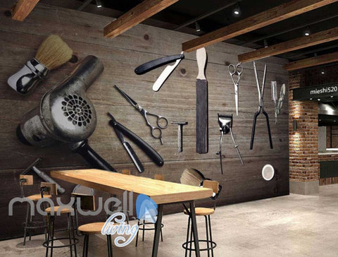 Image of Old Classic Hair Dresser Tools Art Wall Murals Wallpaper Decals Prints Decor IDCWP-JB-000193