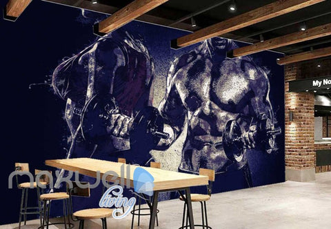 Image of Man Lifting Weights Beside Woman Art Wall Murals Wallpaper Decals Prints Decor IDCWP-JB-000209