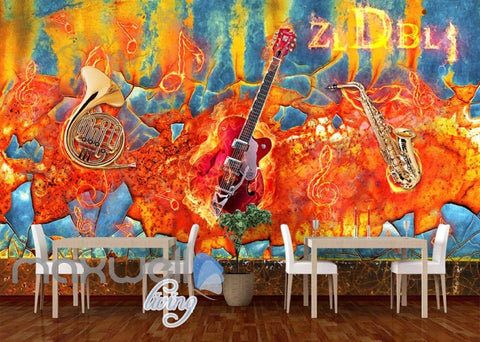 Image of Graffitti Wall Jazz Instruments Art Wall Murals Wallpaper Decals Prints Decor IDCWP-JB-000210