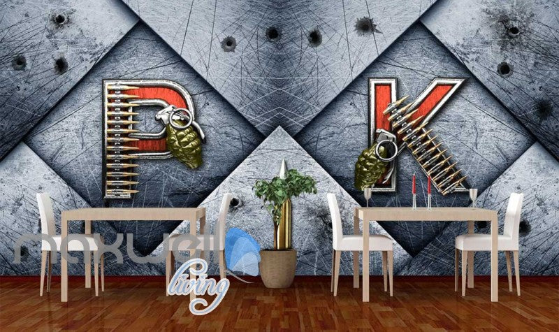 Metal Wall P K Letters With Granada And Bullets Art Wall Murals Wallpaper Decals Prints Decor IDCWP-JB-000211