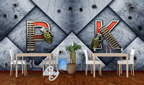 Image of Metal Wall P K Letters With Granada And Bullets Art Wall Murals Wallpaper Decals Prints Decor IDCWP-JB-000211