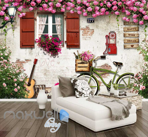 Image of View House Wall With Flowers Bycicle And Guitar Art Wall Murals Wallpaper Decals Prints Decor IDCWP-JB-000214