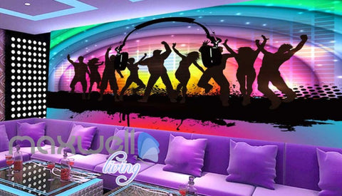Image of Silhouette Of People Dancing On A Colourful Rainbow Art Wall Murals Wallpaper Decals Prints Decor IDCWP-JB-000218