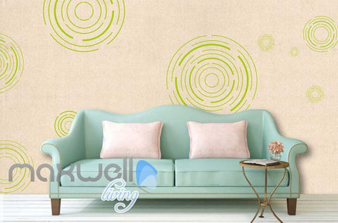 Image of Green Circle Patterns On Wall Art Wall Murals Wallpaper Decals Prints Decor IDCWP-JB-000222