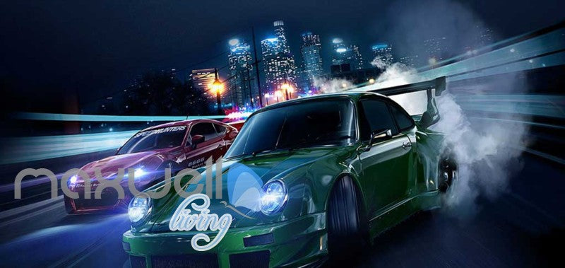 Racing Cars In The City Art Wall Murals Wallpaper Decals Prints Decor IDCWP-JB-000224