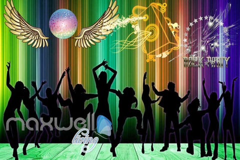 Image of Silhouette Of People Dancing In A Rock Party Art Wall Murals Wallpaper Decals Prints Decor IDCWP-JB-000228