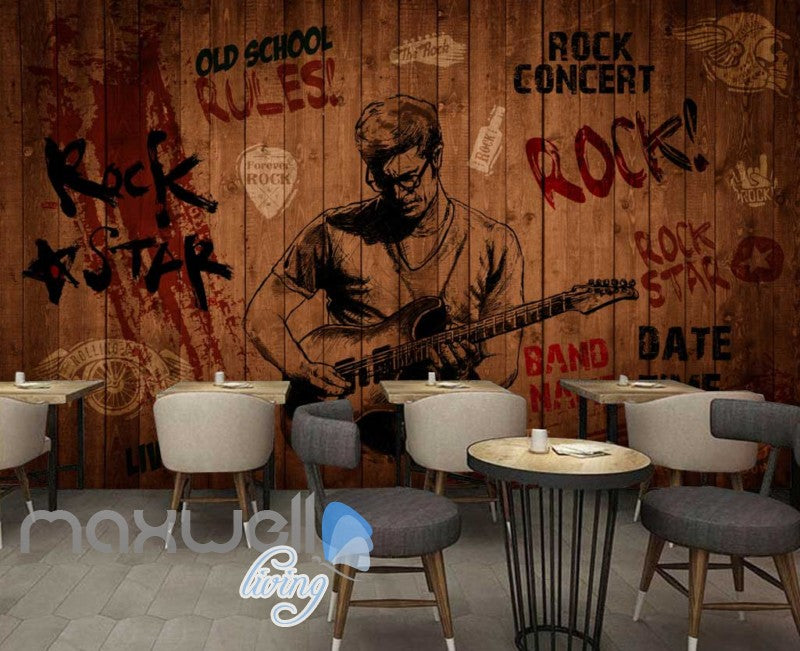 Rock Star Red Wooden Wall  Art Wall Murals Wallpaper Decals Prints Decor IDCWP-JB-000230
