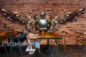 Brick Wall With Medieval Metal Armour With Metal Modern Wings  Art Wall Murals Wallpaper Decals Prints Decor IDCWP-JB-000233