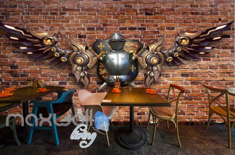 Image of Brick Wall With Medieval Metal Armour With Metal Modern Wings  Art Wall Murals Wallpaper Decals Prints Decor IDCWP-JB-000233