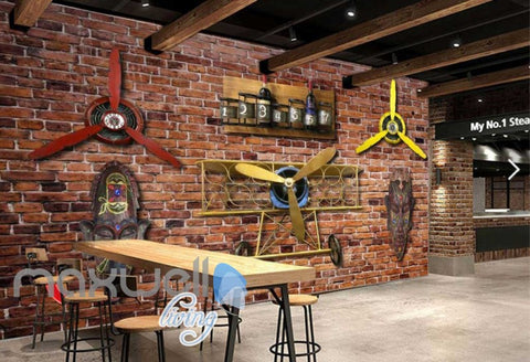 Image of Old Brick Wall With Airplane Helice And African Masks Art Wall Murals Wallpaper Decals Prints Decor IDCWP-JB-000235
