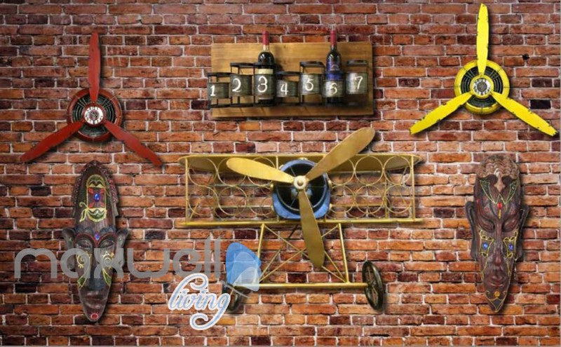 Old Brick Wall With Airplane Helice And African Masks Art Wall Murals Wallpaper Decals Prints Decor IDCWP-JB-000235