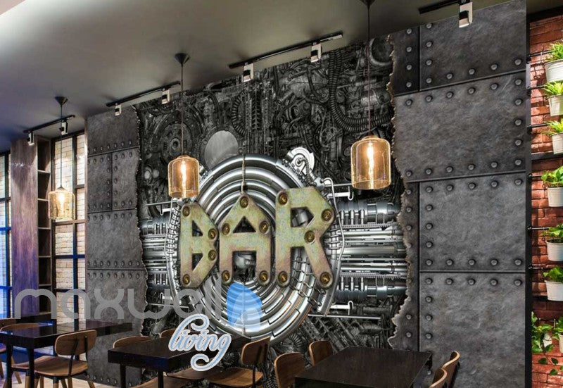 Metal Industrial Wall With Bar Sign Art Wall Murals