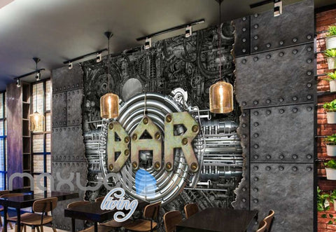 Image of Metal Industrial Wall With Bar Sign Art Wall Murals Wallpaper Decals Prints Decor IDCWP-JB-000236