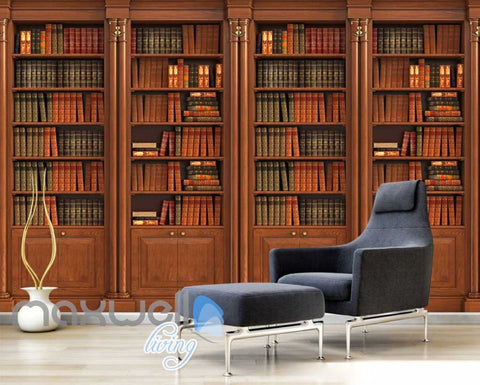 Image of Wooden Old Library Stands With Books Art Wall Murals Wallpaper Decals Prints Decor IDCWP-JB-000238