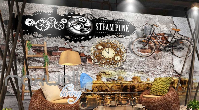 Damage Wall With Bicycle And Steam Punk Sign Art Wall Murals Wallpaper Decals Prints Decor IDCWP-JB-000239