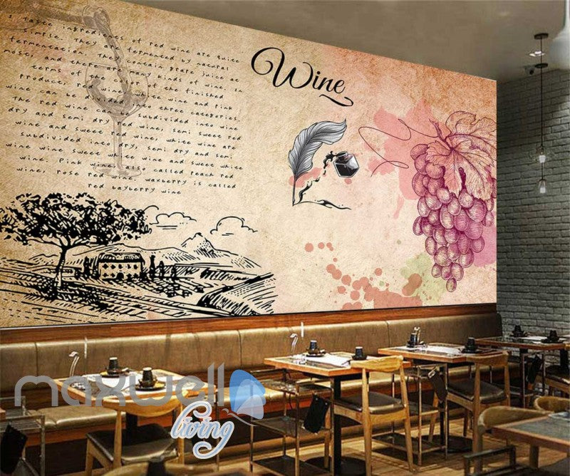 Old Wallpaper Design With Wine Art Wall Murals Wallpaper Decals Prints Decor IDCWP-JB-000240