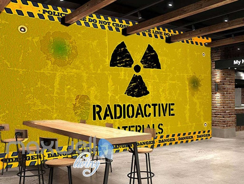 Painted Radioactive Material Sign Yellow Wall Art Wall Murals Wallpaper Decals Prints Decor IDCWP-JB-000242