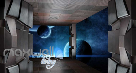 Image of View Of Planets Inside A Space Ship Art Wall Murals Wallpaper Decals Prints Decor IDCWP-JB-000246