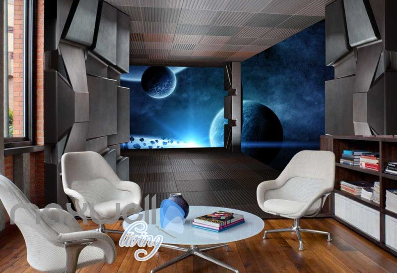 View Of Planets Inside A Space Ship Art Wall Murals Wallpaper Decals Prints Decor IDCWP-JB-000246