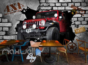 3D 4X4 Jeep Car Breakthrough Brick Wall Art Wall Murals Wallpaper Decals Prints Decor IDCWP-JB-000249