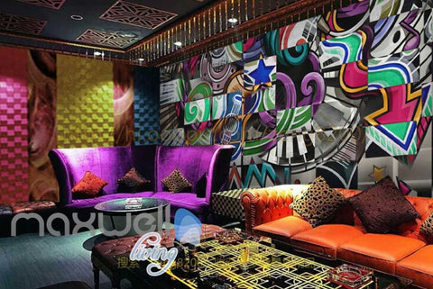 Image of Graffitti Wall Square Colourful Music Design Art Wall Murals Wallpaper Decals Prints Decor IDCWP-JB-000250