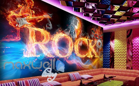 Image of Drum Guitar Flames Skeleton Rock Music Performance Art Wall Murals Wallpaper Decals Prints Decor IDCWP-JB-000251