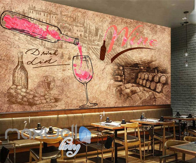 Sepia Paper Wallpaper Drink Wine Art Wall Murals Wallpaper Decals Prints Decor IDCWP-JB-000252